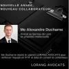 En 2021, Me Alexandre Ducharne rejoint le cabinet Lorang Avocats en qualité de collaborateur PI